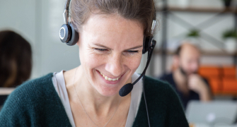 A woman working in customer services